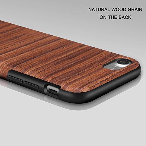TENDLIN iPhone 7 Hülle Holz [Exakt-Anpassen] Flexiblem TPU Silikon Hybrid Weiche Schutzhülle für iPhone 7 (Santos Rosenholz) Red Sandalwood