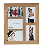 4648AP5 New England High Quality Solid Oak Wood 4x6in/A6 (10x15cm) Multi Aperture Photo Frame Beautiful Mortice Corner Joints Wall Hang Only by Hampton Frames