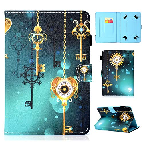 YKTO Tablet Hülle für Universal 10 Zoll Anime Colorful Painted Case Schale für Alle 9.5-10.5 Zoll Tablet iPad Air 2/1, Samsung Galaxy Tab A/3/4/S3/E, Lenovo, Huawei MediaPad T3 10 Goldener Schlüssel