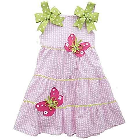 Rare Editions ragazza Seersucker estate vestito rosa e bianco a quadretti farfalle 92 - Rosa Bumble Bee