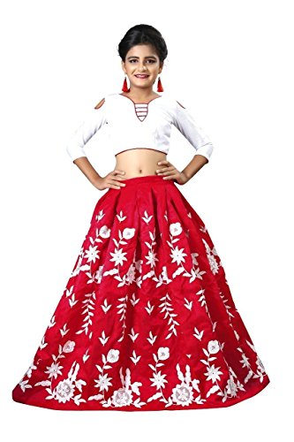 New Designer red Colour Girls Semi Stitched Party Wear Kids Lehenga Choli_Comfortble...