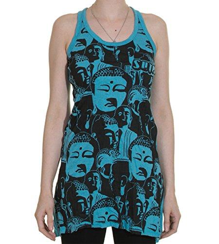 70er Retro Top Sure Buddha Köpfe Psy Goa T-Shirt in leuchtenden Farben Blau