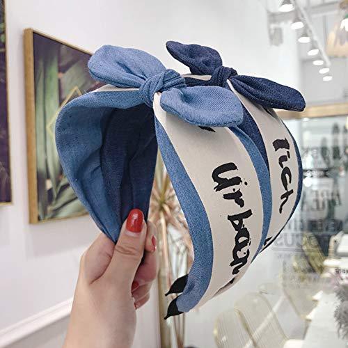 Gesicht Denim (Homeofying Breites Band Haarband Stirnband Denim Brief Ohren Bowknot Breiter Krempe Haarband Stirnband Mädchen Frauen Kopfbedeckungen Dunkelblau)