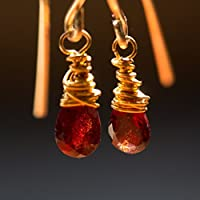 Rote Edelstein-Ohrringe vergoldet mit facettiertem echtem Granat / auch mit Ohr-Clips oder festem Klapp-Haken / Unikate / Handarbeit von Silber-und-Stein / Granat-Schmuck / Geschenk