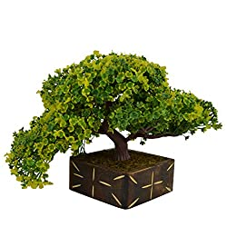 Thefancymart Artificial Bonsai Tree plant with Wood Pot (10 inchs/ 25 cms) ( Code-636 )