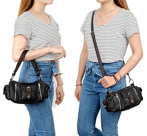 UTO Damen Handtasche klein Purse PU Leder Hobo Stil Schultertasche schwarz schwarz