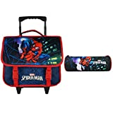 CARTABLE A ROULETTES 38CM + TROUSSES BLEU MARINE-SPIDERMAN MARVEL