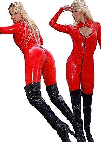 Neue Damen Rot Wet Look & Cut Out-Brustumfang Detaillierte Vorne Overall Catsuit Spielanzug Bodysuit Club Wear Fancy Kleid Kostüm Gr. UK 8–10EU 36–38 (Pvc Catsuit)