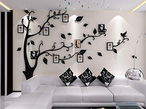 Missley 3D Acryl Riesige Baum Bilderrahmen Wandaufkleber Wandaufkleber mit Abnehmbaren Zweige und Bilderrahmen Für Wohnzimmer Schlafzimmer Dekoration (S, Black-Left)