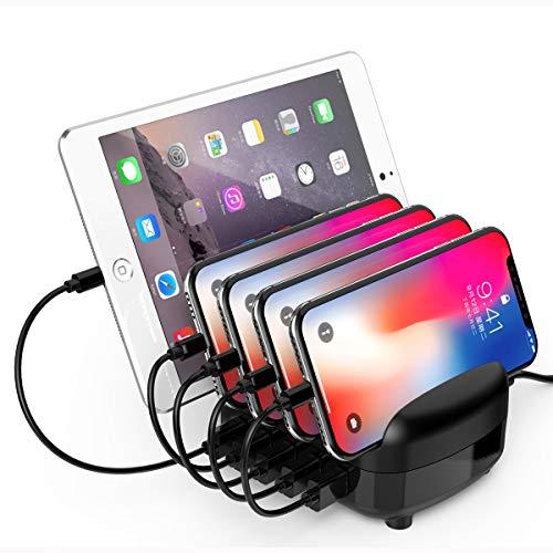 ORICO 40W 5 Porte Caricabatterie Smart USB con Supporto per Telefono Cellulare e Tablet per iPhone, iPad, Samsung Galaxy, Nexus, HTC, Motorola, LG e Altri (DUK-5P Nero)