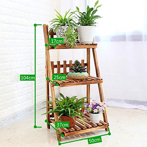 ZHAS Steht Blumenregale Massivholz Falten Mehrere Schichten Bodenstehende Blumentopf Rack Bonsai Rahmen Balkon Wohnzimmer (Farbe: B) (Bild-rahmen-halter Mehrere)