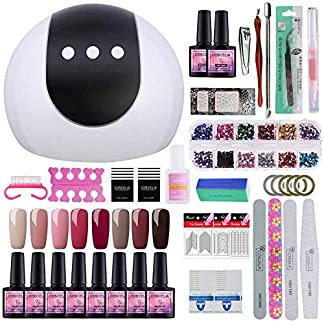 Saint-Acior 8PCS Pintauñas Esmalte en Gel 24W UV/LED Secador de Uñas Topcoat Base Coat Manicura Set