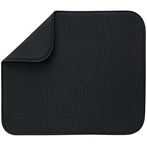 Envision Home M285621 - Escurreplatos Dish Dry Mat Negro con Cuadros