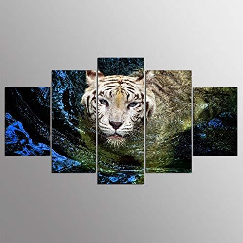 ZHANGWLH Wanddekorationsmalerei mit fünf Platten Kunstdruck Rahmen 5 Panel Tier Tiger Malerei Poster Wand Modulare Bild Für Malerei Kinderzimmer -