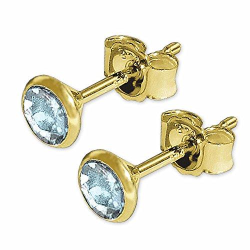 CLEVER SCHMUCK Goldene Ohrstecker mit Edelstein Blautopas hellblau Ø 4 mm rund in Kelchfassung glänzend 333 GOLD 8 KARAT