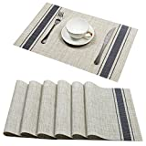 Placemats Set of 6, U'Artlines Soft Woven Vinyl Placemats for Home, Kitchen,Office snd Outdoor elegance and simple design (Blue)