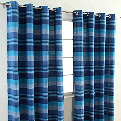 Homescapes Blue Eyelet Curtain Pair 167cm (66
