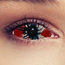 """Asustadizas Sclera lentillas de color rojo y negro para Halloween 22mm Zombie infectado lentillas sin dioprtías / corregir + gratis caso de lente """"Cordyseps"""""""