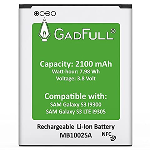 GadFull® Premium Akku für Samsung Galaxy S3 | 2017 Baujahr | wie EB-L1G6LLU | Galaxy S3 i9300 | Galaxy S3 LTE i9305 | Batterie Accu Battery