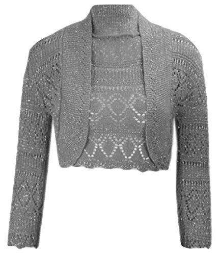 Damen Mädchen Metallic Lurex Kurz geschnitten Bolero Shrug EUR Größe 36-42 (M/L (EUR 40-42), Holzkohle) (Holzkohle Kurze)