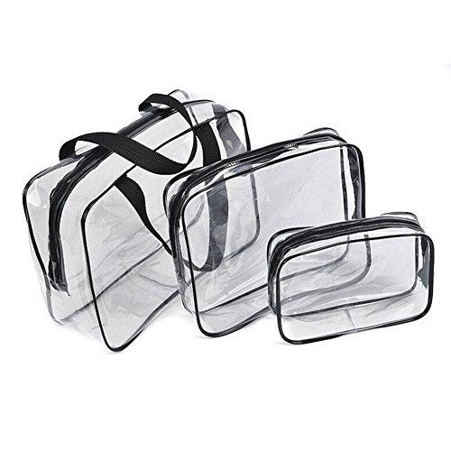 Sac de toilette - SODIAL(R)3pcs chaud sac de cosmetic de nettoyage Toilette PVC voyage lavable trousse de maquillage (noir)