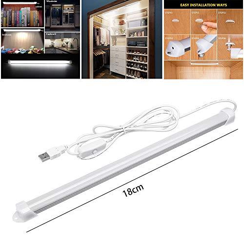 Surenhap LED Unterbauleuchte, Schrankleuchte 5630 SMD Kaltweiß mit 1,5m USB Kabel EIN/Aus-Schlüssel für Schrank, Flur, Unter-Kabinett, Bar-Licht-Lampe Dachboden, Treppen usw. (18CM) (Led-licht Unter Schrank Bar)