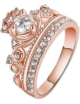 Hanessa Ring in Rosé-Gold Prinzessin Krone Vergoldet Strasssteine Damen-Schmuck