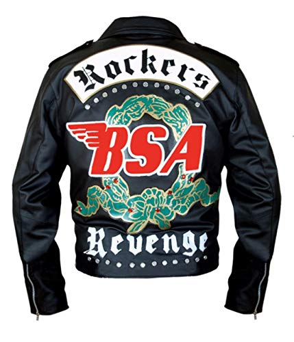 Feather Skin Giacca Uomo BSA George Michael Faith Rockers Revenge Stile Biker Moto Originale Giacca di Pelle Nero- M (George Leder Jacke)