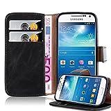 Cadorabo Hülle für Samsung Galaxy S4 Mini - Hülle in Graphit SCHWARZ – Handyhülle im Luxury Design mit Kartenfach und Standfunktion - Case Cover Schutzhülle Etui Tasche Book