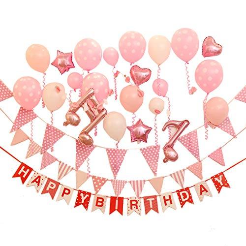 LiuJF Partei-Ballon-Satz, Geburtstags-Jungen-Mädchen-dekorativer Ballon-blaue rosa Hintergrund-Wand-Dekoration Party-dekorationen (Color : Pink)
