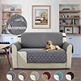 H.Versailtex Waterproof Reversible 2 Seater Slipcover Sofa Loveseat Cover, Chair and a Half Slipcover for Pets, Kids, Seat Width Up to 46' Washable Furniture Protector – 46'' x 75'' Grey