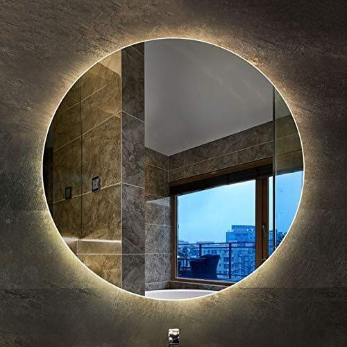 BJYX Espejo de baño Inteligente retroiluminado luz del Espejo Espejo Redondo de Montaje en Pared luz...