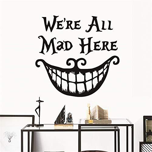 ker Halloween Dekor Wand Aufkleber Abziehbilder Wir Sind Alle Hier Wütend Vinyl Zitate Aufkleber Lächeln Gesicht Großen Mund Dekor ()