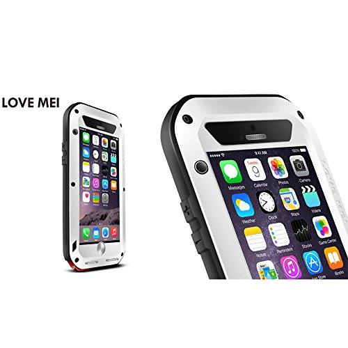 Love Mei Wasserdicht für Apple iPhone 6Plus 6+ (14cm), Aluminium Legierung Gorilla Metall Fall Mit Display Schutz weiß