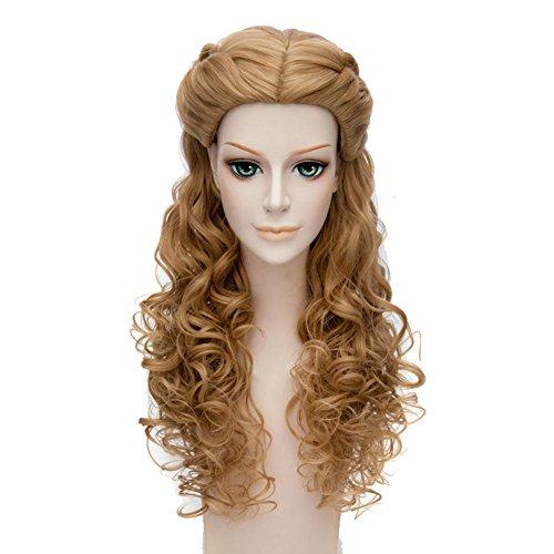 Halloween Kostüm Schöne Prinzessin Cinderella Cosplay Perücke Wig 60cm Langes Lockiges Braunes Haar (Cinderella Kostüm Halloween)