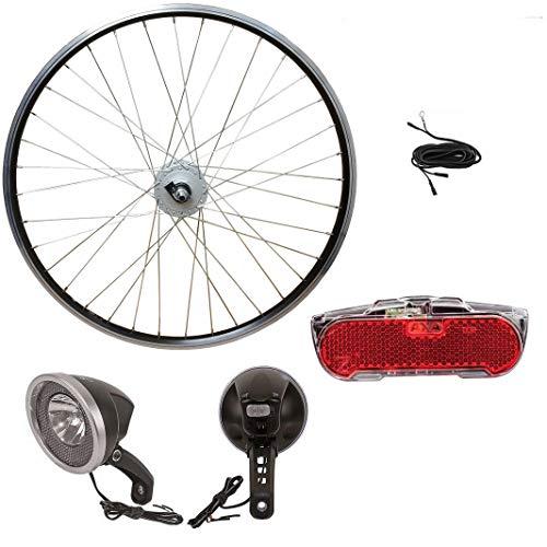 Saiko 28 Zoll Vorderrad Laufrad Shimano Nabendynamo Umrüstset mit Vorderlicht, Rücklicht und Dynamokabel