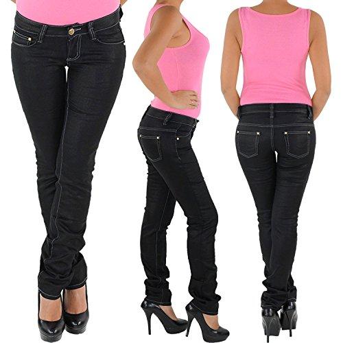 Damen Hüft Stretch Jeans Hose Gerader Schnitt Straight Leg Gerades Bein Schwarz Schwarz