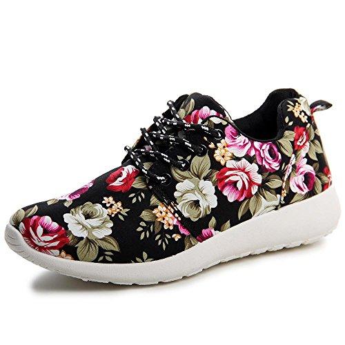 topschuhe24 529 Damen Sneaker Turnschuhe Full Flower Schwarz