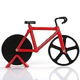 Arnique Fahrrad Pizzaschneider - Doppelte Schneide aus Edelstahl - Antihaftbeschichtung - Schneide-Räder mit Fahrradständer Rot