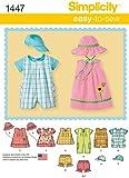 Simplicity Sewing Pattern 1447 - Babies' Romper, Dress & Top Sizes: XXS - L