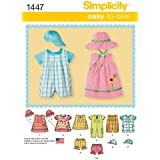 Simplicity 1447 - Patrón de costura para vestiditos de bebés y partes superiores XXS - L