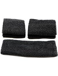 pasow Sweatband Diadema–Juego de 1y 2pares pulseras (Talla S y M) para deportes de algodón y actividades al aire libre Negro negro