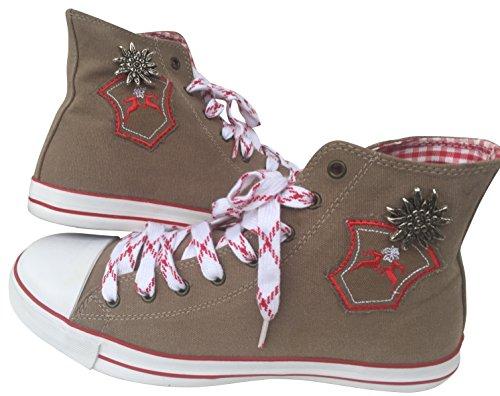 by johanna Trachten-Sneaker Trachten-Schuhe Trendige Herren-Schuhe Canvas.Wer Keine Haferl-Schuhe Liebt!Fürs Oktoberfest,Freizeit,Wander-Schuhe,Laufschuhe!Mann ist Perfekt .Braun Trachten Sticker45 - 2