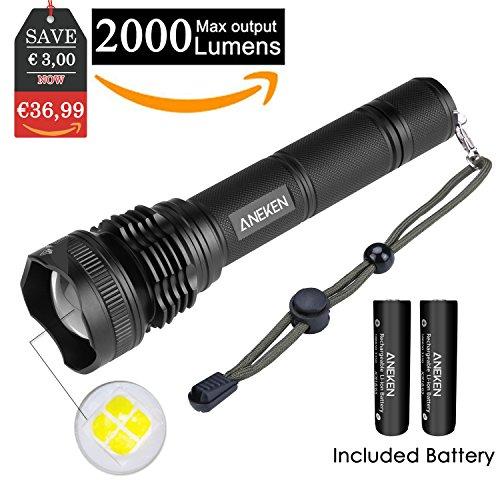 LED Taschenlampe, ANEKEN Superhelle Cree 2000 Lumen 5 Leuchtungsmodi Einstellbar für Outdoor Sports Campen Wandern Fahrradfahren und Notfälle