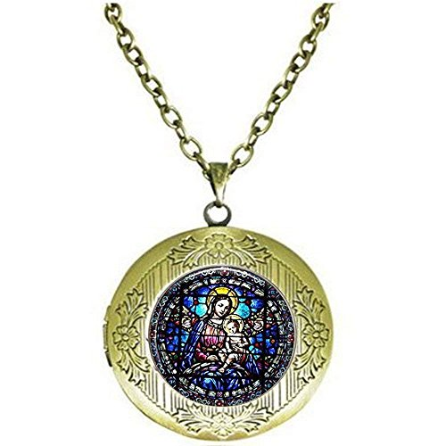 Jungfrau Maria und Kind gebeizt Glas, Christian Schmuck, christliches Geschenk, Virgin Mary Halskette, Christian Halskette, Baby Jesus Schmuck Medaillon