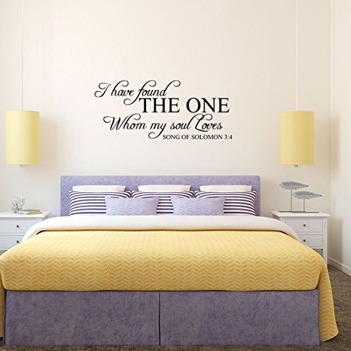 Song of Solomon 3: 4 I Have Found My Soul - Wand Aufkleber Vinyl - 33 x 71,1 cm - Religiöse Wandsticker aus Vinyl - Christian Wand-Dekoration, Love Zitat Schlafzimmer Decor
