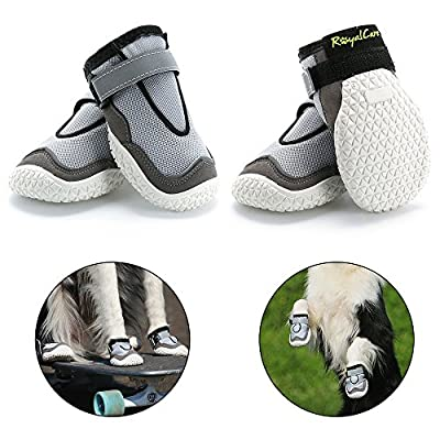 RoyalCare Protective Dog Boots, Set of 4 Waterproof Dog Shoes for Medium and Large Dogs by Royalcare