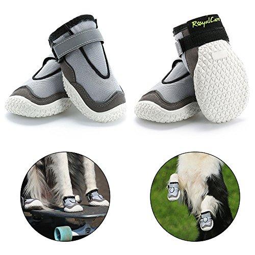 RoyalCare Pfotenschutz Hundestiefel, Set 4 Atmungsaktive Loch und Rutschfeste Hund Schuhe für große Hunde in heißen Sommer 5# -