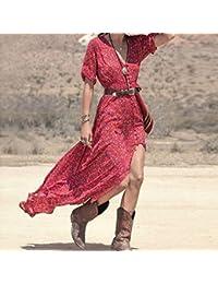 Damen Holidays Beachwear Vintage Hippie Kleid Sommerkleid Strandkleid Maxikleid
