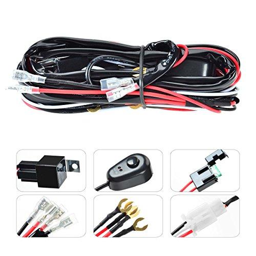 KAWELL Kabelbaum Kabelsatz Relais 40 Amp Adapter Mit ON / OFF Schalter für 120W Zusatzscheinwerfer Quad Offroad Flutlicht Reflektor Scheinwerfer Arbeitslicht LED Lichtleisten (2 Blei 6,5ft)